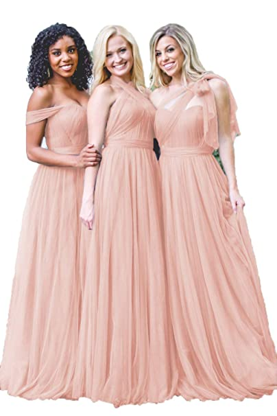 entire collection new collection superior performance Dusty Blue Convertible Tulle Long Wedding Bridesmaid Dresses 2018 for Women  B004