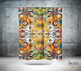 Psychedelic Neutral Shower Curtain. Boho gypsy style bathroom accessories. Add a matching bath mat! Artwork by mixed media artist C.Cambrea.