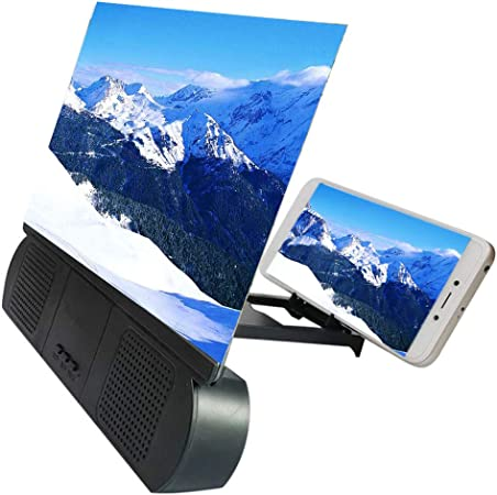 Syfinee 12 Inch 3D Screen Magnifier with Bluetooth Speaker Movies Amplifier Screen Magnifier Smart Mobile Phone Movies Amplifier with Bluetooth Speaker HD protable Phone Projector for All Smart Phone: Amazon.es: Hogar
