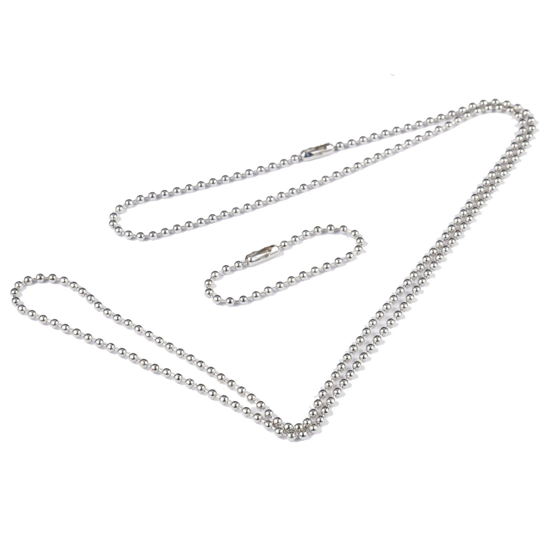 50 Bulk 28'' and 4'' Nickel Plated Steel Ball Chain.