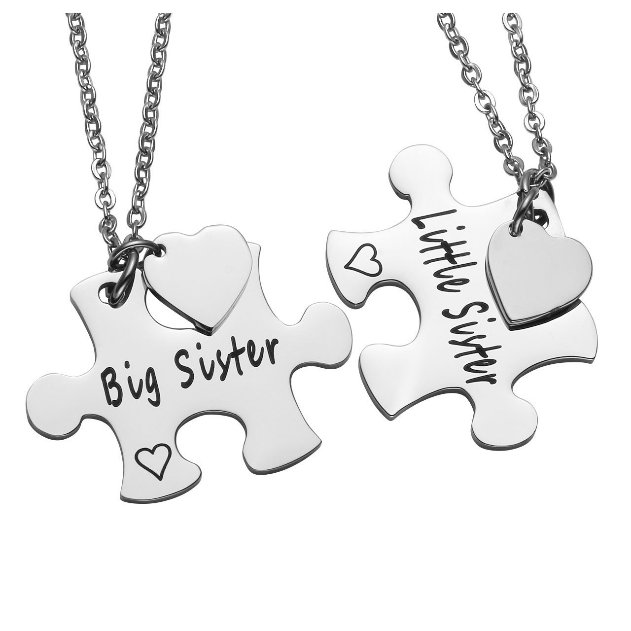 Personalized Master Free Engraving Custom Stainless Steel Big Sister Little Sister Matching Puzzle Pieces Keychain/Necklace Set for Sisters Family Best Friends Gift