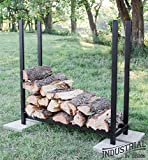 100% Steel Deluxe 4-ft Firewood Log Rack - Heavy Duty - Holds Over 30 Cubic Ft of Firewood - Indoor/Outdoor - - Step-by-Step Instructions w/Wrench Included