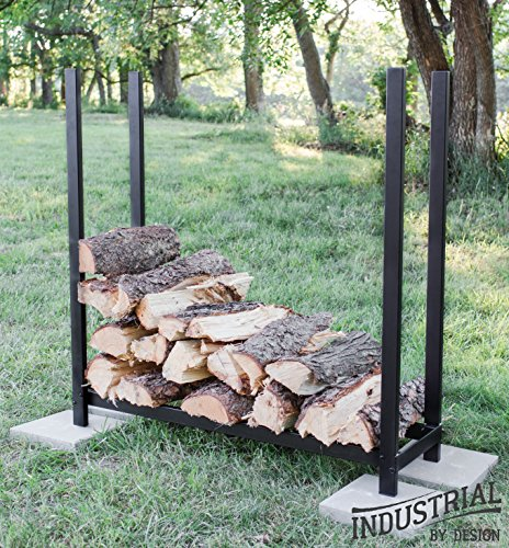 (100% Steel Deluxe 4-ft Firewood Log Rack - Heavy Duty - Holds Over 30 Cubic Ft of Firewood - Indoor/Outdoor - - Step-by-Step Instructions w/Wrench Included )