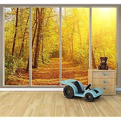 Wonderful Artistry, Large Wall Mural Golden Autumn View Seen Through Sliding Glass Doors 3D Visual Effect Vinyl Wallpaper Removable Decorating, Original Creation