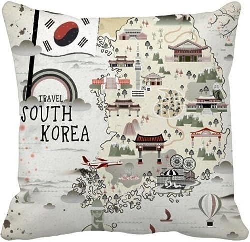 DIYthinker South Korea Map Landmarks Throw Pillow Square Cover