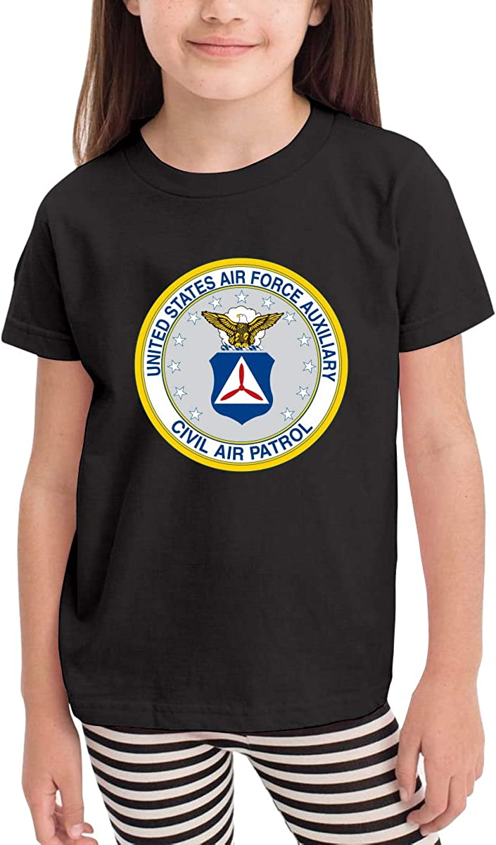 United State Air Force Auxiliary Civil Air Patrol Seal Toddler Girls Short Sleeve Crew Neck Tee Shirt