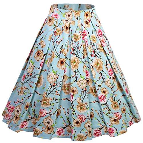 (Dressever Women's Vintage A-line Printed Pleated Flared Midi Skirts Wintersweet)