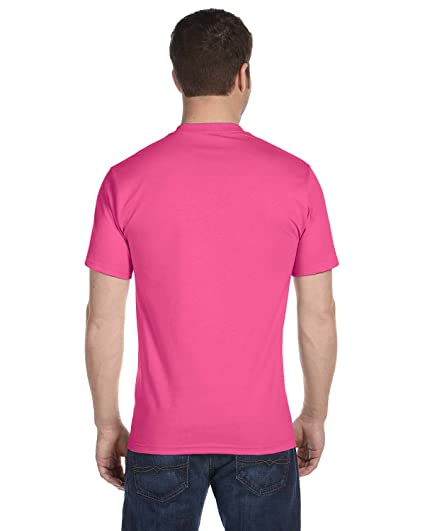 Hanes Men's Beefy Short Sleeve T 6.1 oz T-Shirt, Wow Pink, ...