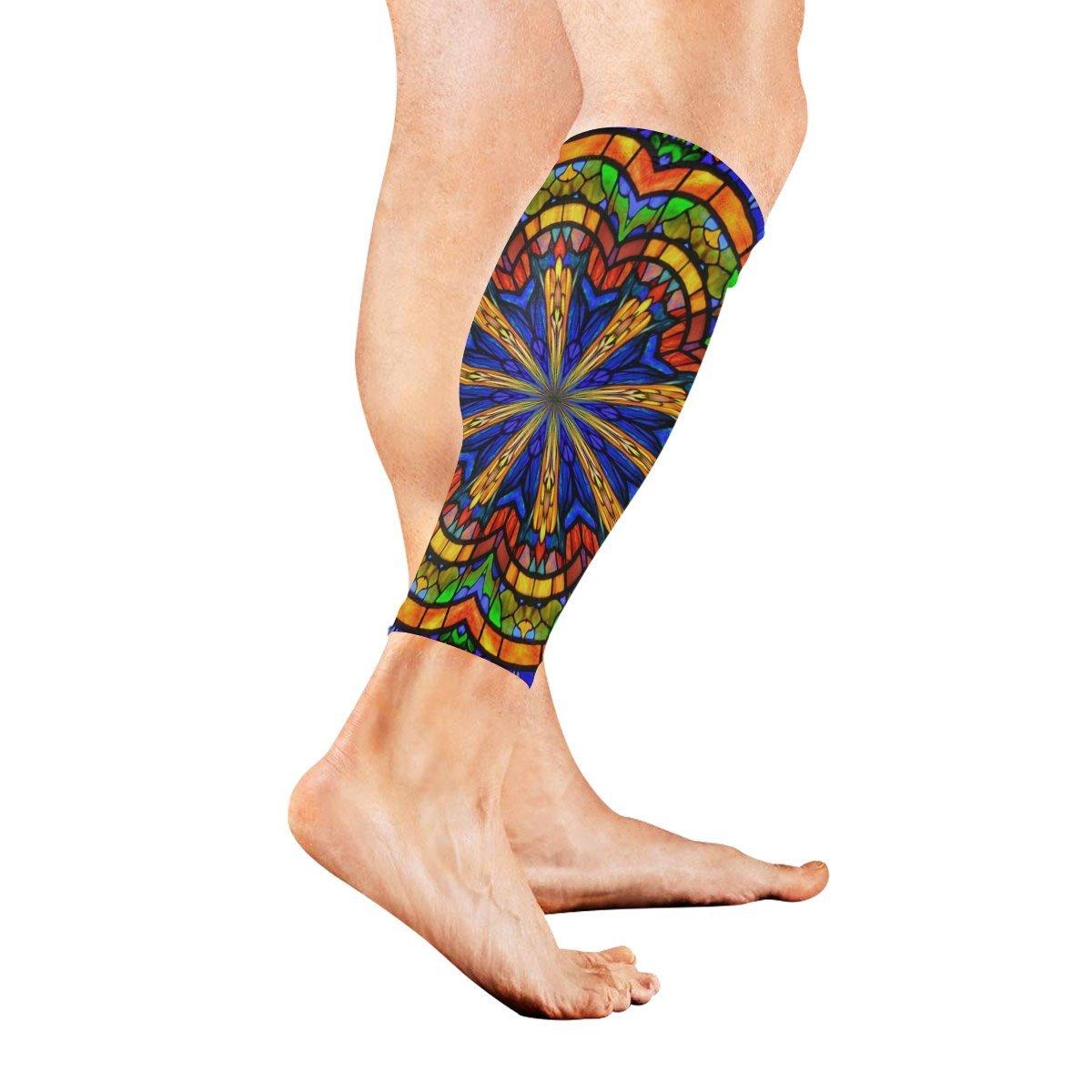 bac5ba045 Amazon.com: LEVEIS Trippy Mandala Calf Compression Sleeves 1 Pair, Leg  Performance Support for Shin Splint Calf Pain Relief Men & Women Guards  Sleeves for ...