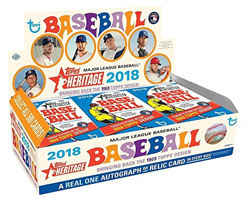 (2018 Topps Heritage Baseball Hobby Box (24 Packs/Box, 9 Cards/Pack: 1 Autograph or Relic, 7 Inserts,)