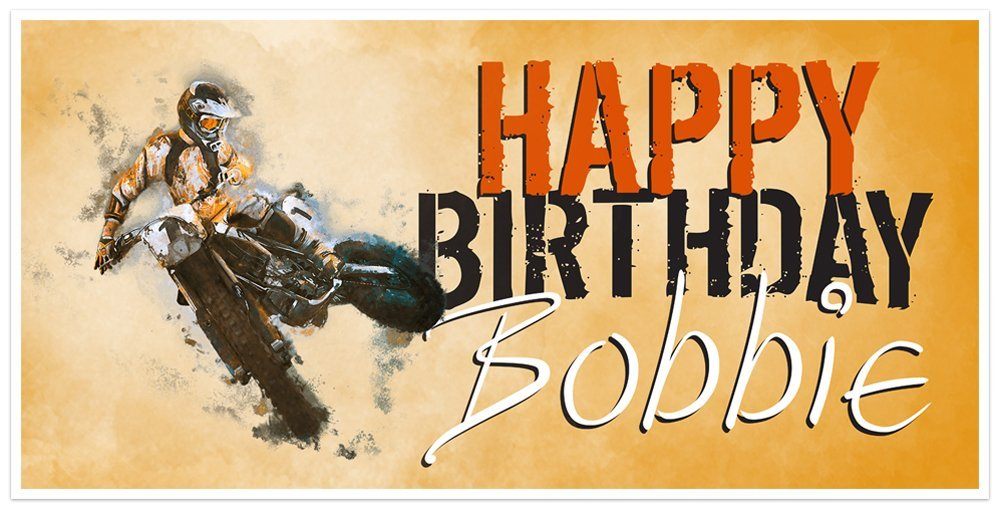 Motocross Dirt Bike Racing Birthday Banner Personalized Party Backdrop