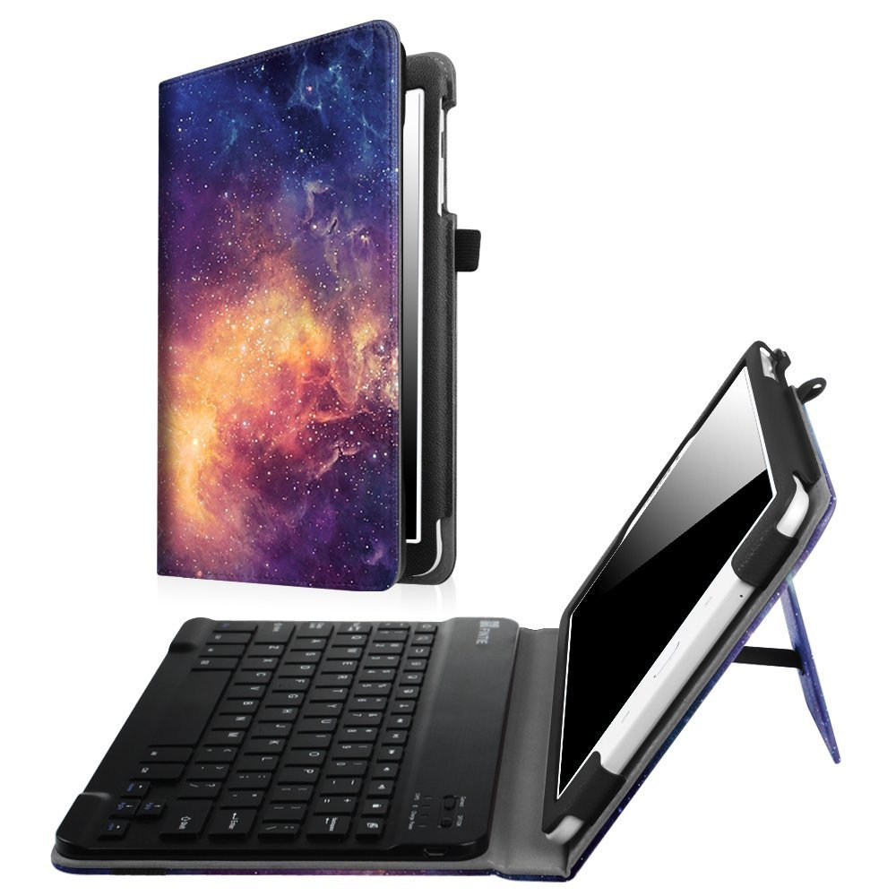 Fintie Samsung Galaxy Tab E 9.6 Keyboard Case - Slim Fit PU Leather Stand Cover with Premium Quality [All-ABS Hard Material] Removable Wireless Bluetooth Keyboard, Shades of Blue