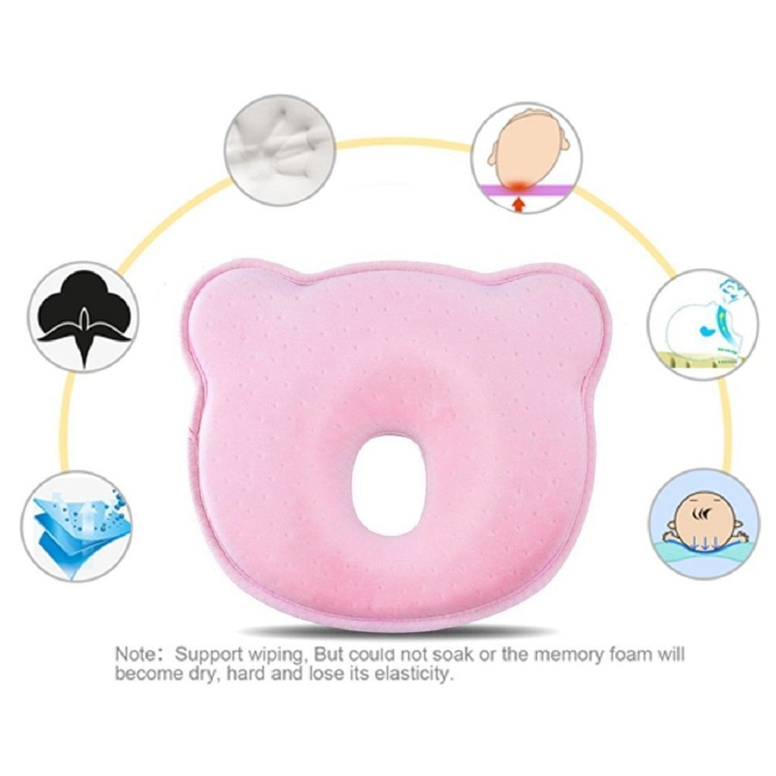 Jinon Baby Pillow, Baby Memory Foam Pillow for Flat head Baby Flat Head Syndrome Prevention Baby Pillow for Plagiocephaly (0-12 Months)-Pink