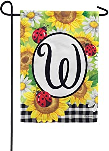 Custom Decor Sunflower Ladybugs - Letter W - Embroidered Monogram - Decorative Double Sided Flag - Garden Size, 12 Inch X 18 Inch, Licensed, Copyright & Trademark CDI. USA