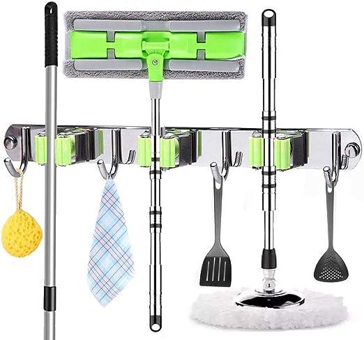 3 ganchos jard/ín cocina para el hogar Soporte de pared para escobas de fregonas organizador de herramientas multiusos perchas resistentes con 2 posiciones