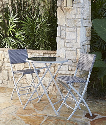 COSCO Outdoor Living Transitional 3 Piece Steel Woven Wicker Delray High Top Folding Patio Bistro Set, Blue and Gray Resin Wicker, Steel (Gray Resin)