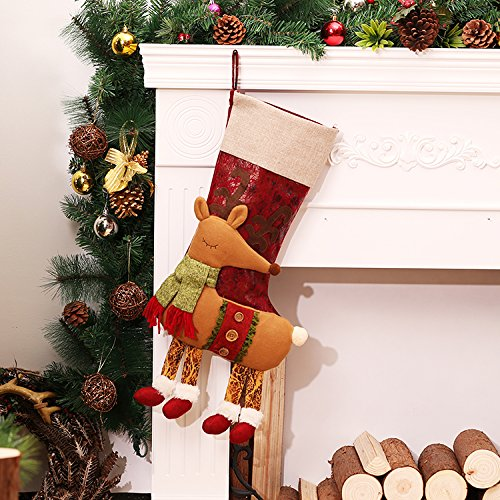Christmas Stockings, 18 Inch Xmas Stockings Lovely 3D Style Holiday Decorations Stocking Kits Holiday Festive Cute Hanging Ornaments ( 18