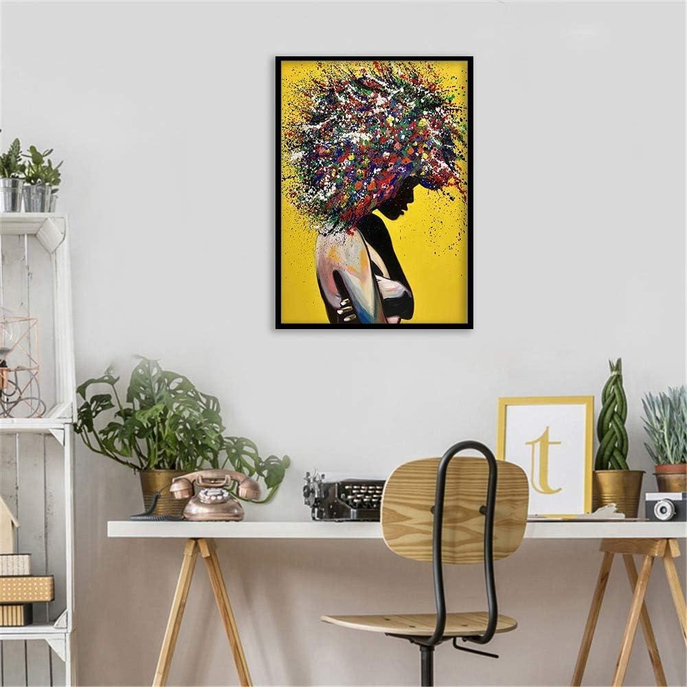 N / A Pintura sin Marco Mujer Africana Pintura al óleo Lienzo Arte gráfico póster impresión Sala de Estar Arte de la Pared decoraciónZGQ4982 30X45cm