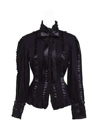 00127b6941f88e Antaina Black Cotton Ruffle Lace Bow Tie Stand-up Collar Lolita Shirt Blouse ,XS