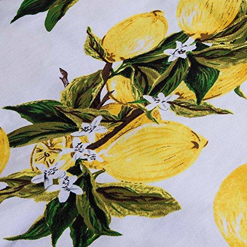 Manga Falda Cocktail Vintage Beauty Sin Redondo Cuello Volante Floral Corto 4XL Print Amarillo Vestido Estampado Floral Verano Hepburn S Lover Mujer w7qPzXqx