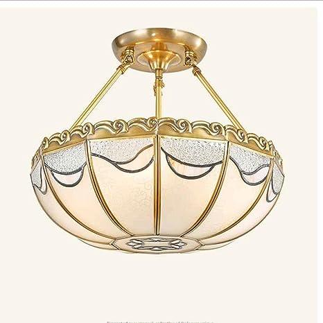 Tiffany - Lámpara de techo (Cristal Mate latón metal estilo ...