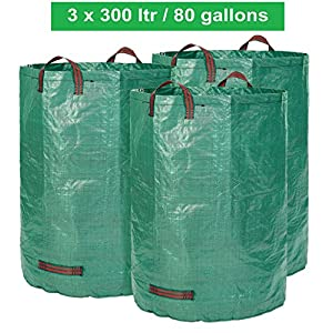 GloryTec 3 x Garden Bags 80 Gallons   Collapsible and Reusable Gardening Containers   Large and Strong Gardening Bag   Yard Waste Bags for Lawn and Leaf