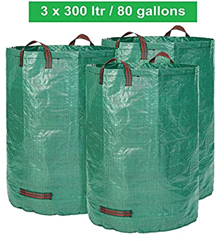 GloryTec 3 x Garden Bags 80 Gallons | Collapsible and Reusable Gardening Containers | Large and Strong Gardening Bag | Yard Waste Bags for Lawn and Leaf