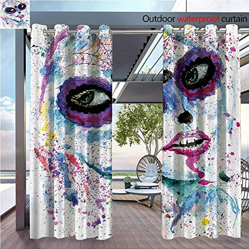 DESPKON The Shade Block Ultraviolet Grunge Halloween Lady with Sugar Skull Make Up Creepy Dead Gothic Woman Artsy Suitable for Outdoor、Open-air Wedding W120 x L96 INCH -