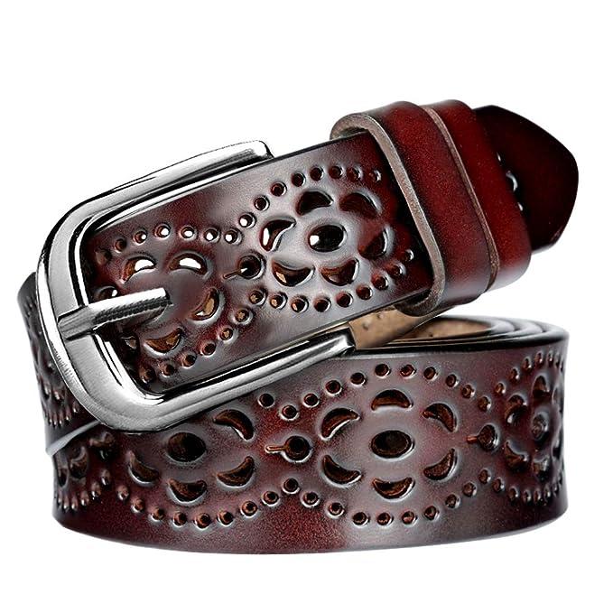 Flor Longitud Cinturon Piel Cortar Patrón Poder De Hbf Retro Hueco Mujer Cinturón rxBChdtsQ
