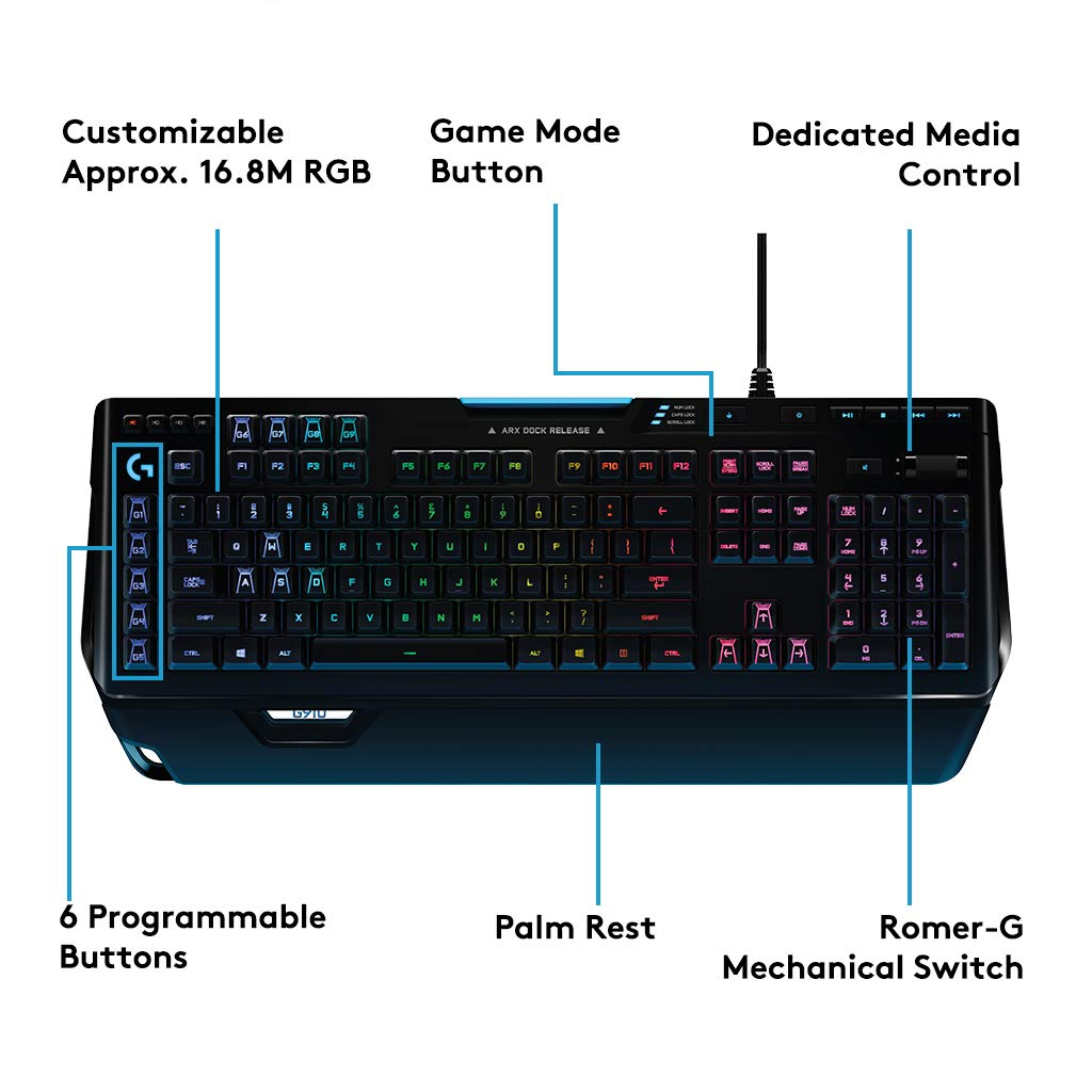 Logitech 920-008017 G910 Orion Spectrum RGB Mechanical Gaming Keyboard, UK  Layout, Black