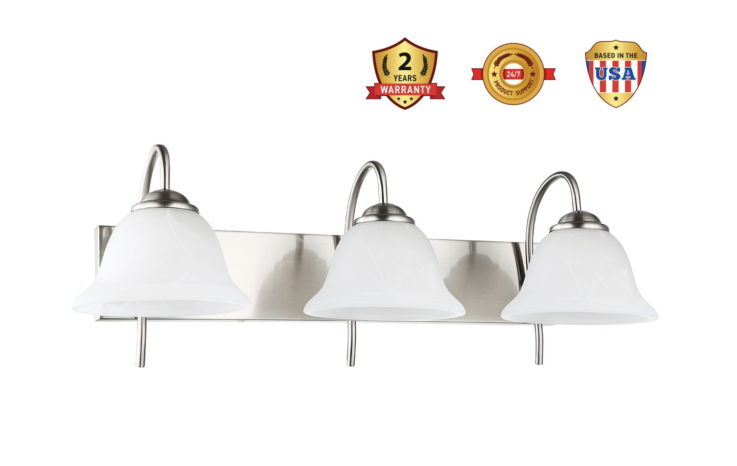 3-Light Bathroom VANITY and Kitchen Wall Sconce Fixture, Satin Nickel Finish with Alabaster Glass Bell Shades, E26 Medium Base For Three Bulbs, UL Listed by OSTWIN (Image #8)