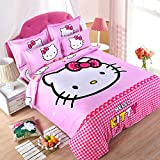 CASA Children 100% cotton series HELLO KITTY Duvet cover & Pillow cases & Flat sheet,4 Pieces,King
