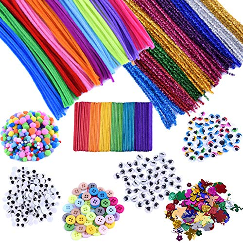 Kids Art & Craft Supplies Assortment Set for School Projects, DIY Activities & Parties, Includes Pipe Cleaners/Chenile, Pom Poms, Googly Eyes, Craft Sticks, Buttons & Sequins (Pack of 1090) by EpiqueO