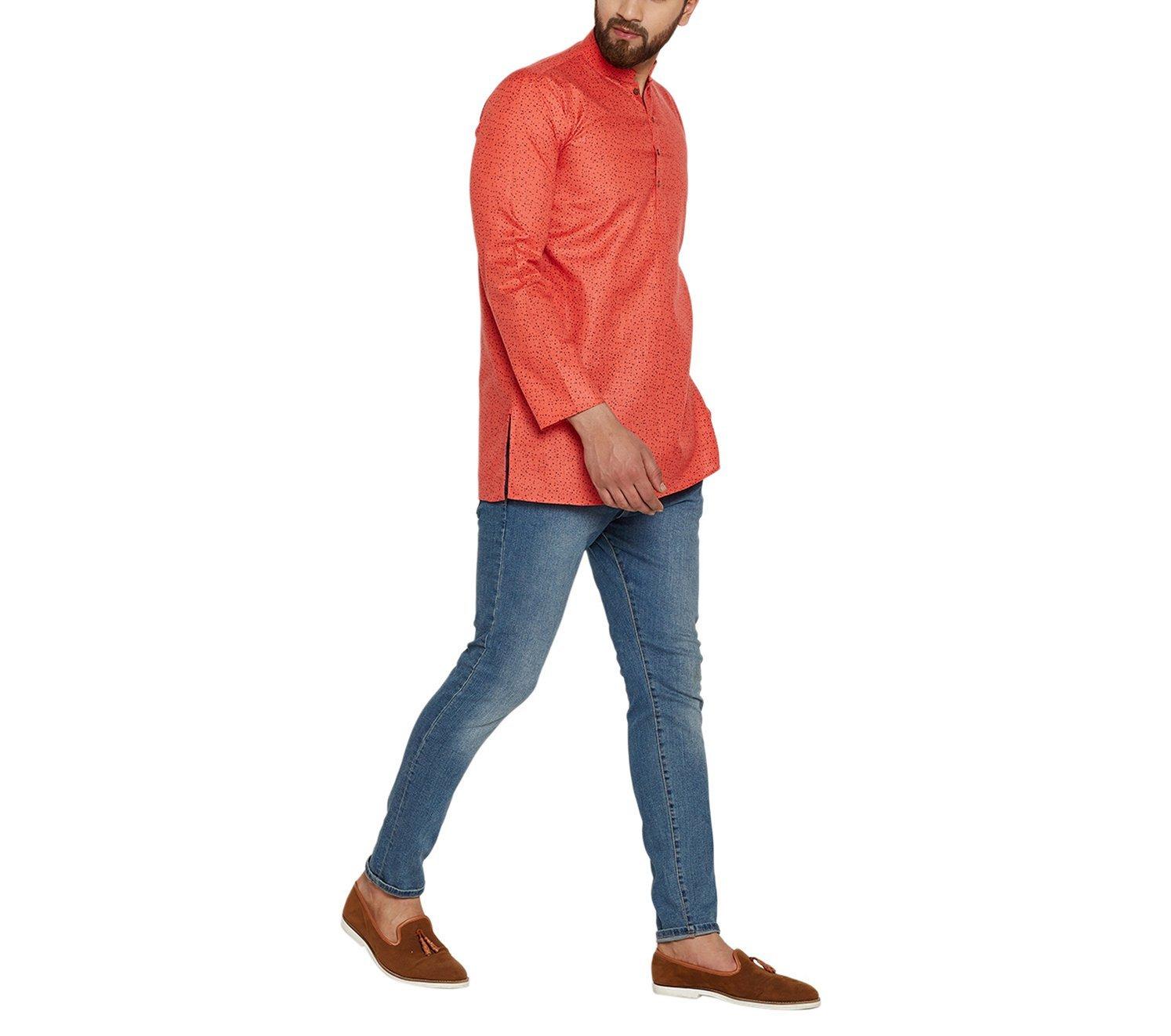 Sojanya Men's Cotton Linen Printed Short Kurta Orange Large Dark Orange