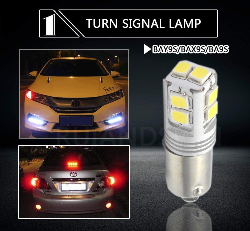 sin polaridad 2 bombillas LED Canbus H21W 12-24 V s/úper brillantes 3030 10SMD Chipset 6000 K blanco LED para luz de marcha atr/ás Ruiandsion BAY9S