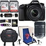 Canon EOS 80D Digital SLR Camera EF-S 18-135mm Image Stabilization USM Lens, Polaroid Photo Studio Light Tent Kit, 2X 32GB Lexar Memory Cards, Ritz Gear Camera Bag and Accessory Bundle