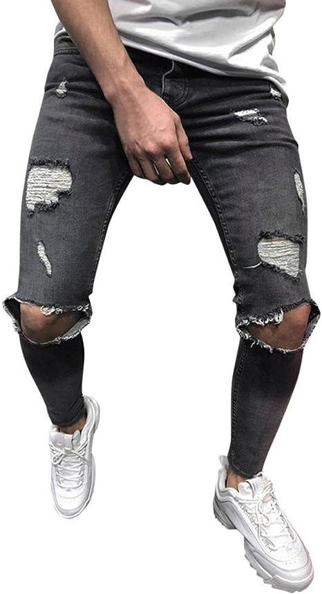 Gusspower Pantalones Vaqueros Hombres Rotos Pitillo Slim Fit Skinny Pantalones Casuales Elasticos Agujero Pantal/ón Personalidad