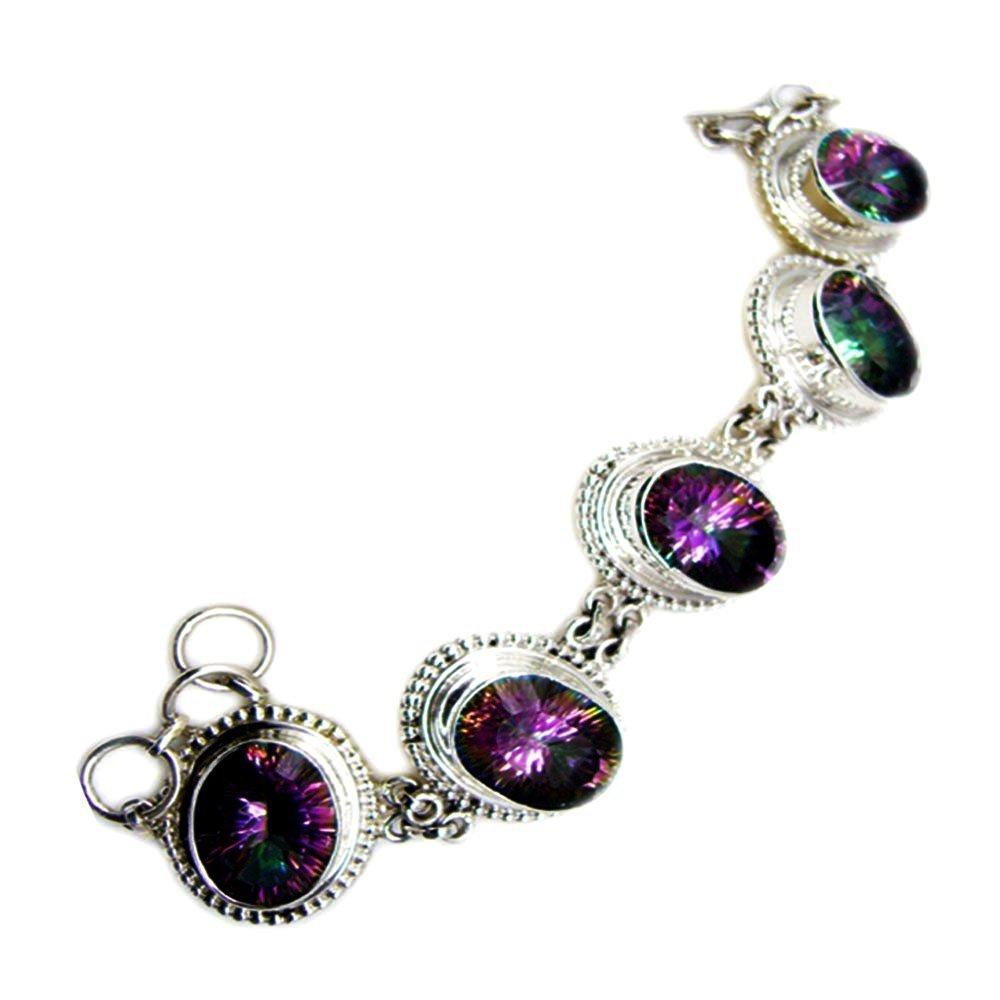 Elegant Mystic Quartz CZ Sterling Silver Bracelet Link Style Oval Cut Handmade Jewelry For Men & Women