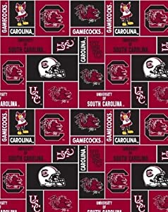 college university of south carolina gamecocks print fleece fabric by the yard by. Black Bedroom Furniture Sets. Home Design Ideas