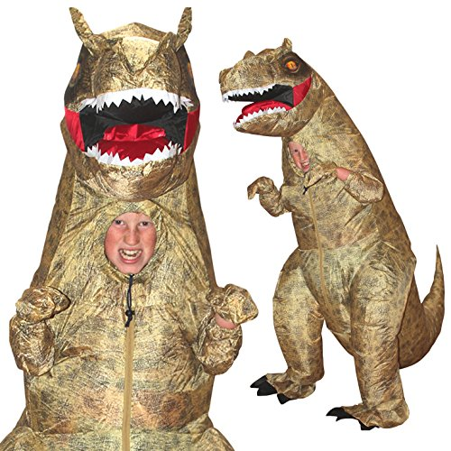 [Morphsuits Giant T-Rex Inflatable Kids Fancy Dress Costume, One Size] (Spirit Halloween Inflatable Costumes)