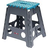 KOADOA Folding Stools for Kids Adults, Foldable Step Stool 8inch Anti-Slip Lightweight Folding Stools for Kitchen Bathroom Bedroom (Dark Blue - 15 inch)