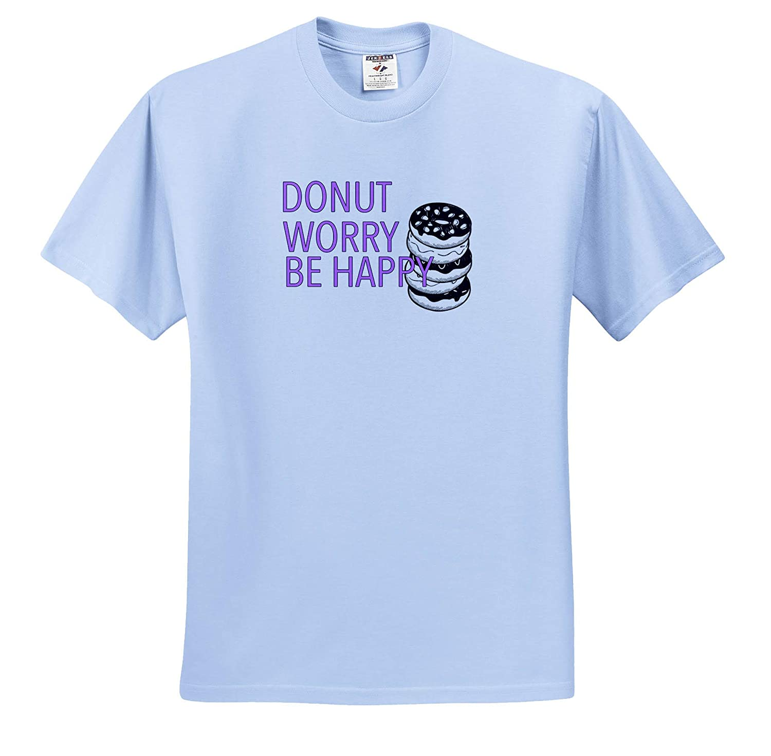 3dRose EvaDane Donut Worry Be Happy Lavender Funny Sayings T-Shirts