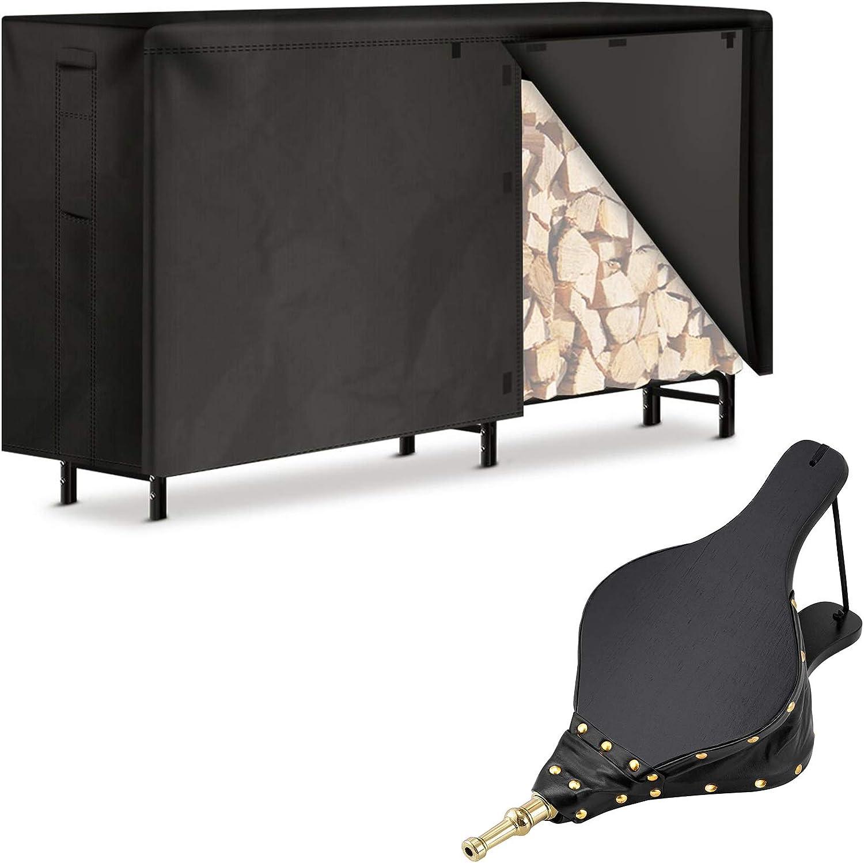 Amagabeli 8ft Firewood Log Rack Cover Combo Set Bundle Fireplace Bellows 15.5x 7 Large