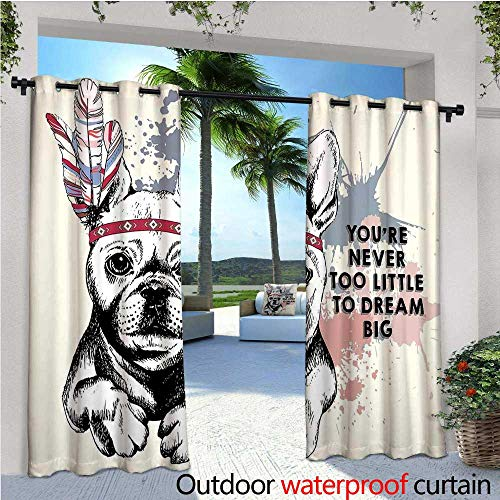 cobeDecor Abstract Patio Curtains Animal Pub Dog with Tribal Feathers and Inspirational Quote Print Outdoor Curtain for Patio,Outdoor Patio Curtains W72 x L96 Black White Pink and ()
