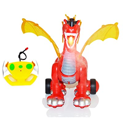 Simulated Flame Beast Remote Control Dino Planet Tyrannosaurus RC Dinosaur T-Rex Toy Flying Dinosaur Dragon Walking Shaking Sounds Light Up Eyes: Toys & Games