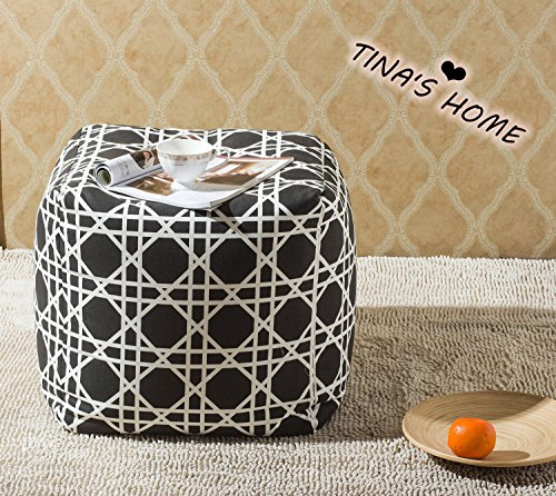 TINA'S HOME Geometric Bean Bag Chiar for Kids and Teens Playroom   Living Room Cube Ottoman Pouf for Adults (18-inch, Black and White) ()