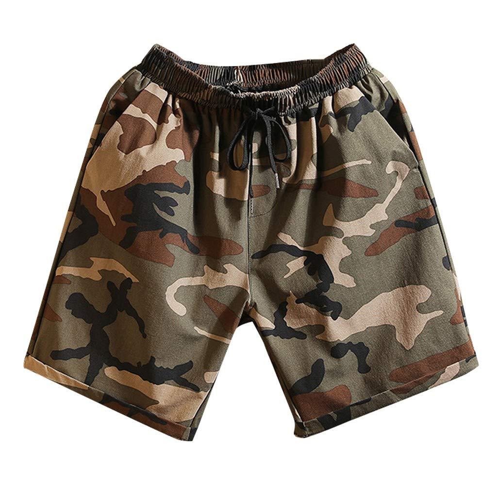 AHAYAKU Mens New Swim Trunks Camouflage Print Graphic Casual Athletic Beach Short Pants