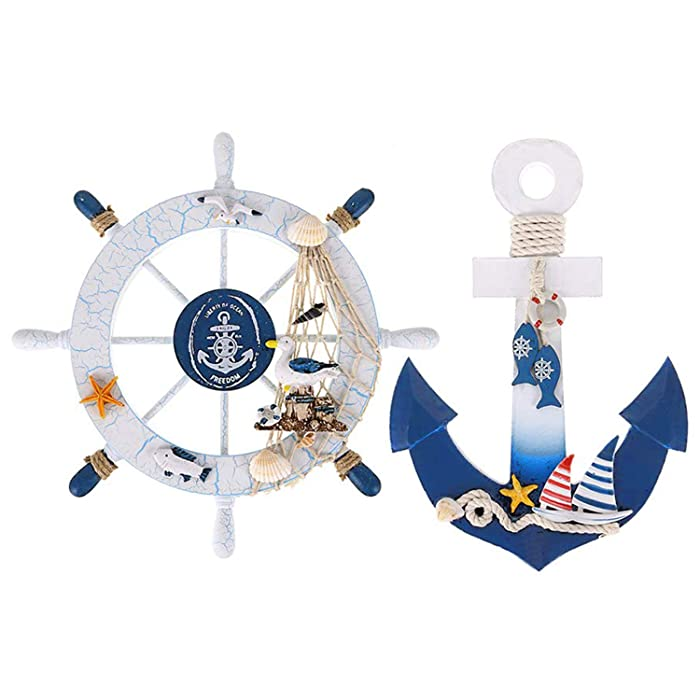 "Meching 2 Pack 11"" Nautical Beach Wooden Ship Wheel and Wood Anchor with Rope Nautical Boat Steering Rudder Wall Decor Door Hanging Ornament Beach Theme Home Decoration(2)"