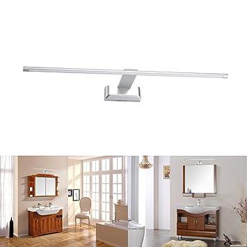 SUBOSI 9W 48 LED 2835 SMD Lámpara de Pared para Baño Espejo Aplique Luz Acero Inoxidable (Blanco): Amazon.es: Hogar