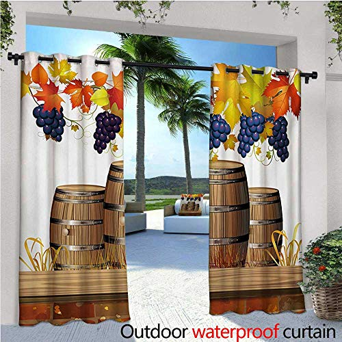 Vineyard Outdoor- Free Standing Outdoor Privacy Curtain Wooden Wine Barrels with Faded Golden Colored Autumn Leaves Fall Sunlight Design for Front Porch Covered Patio Gazebo Dock Beach Home W84 x L1